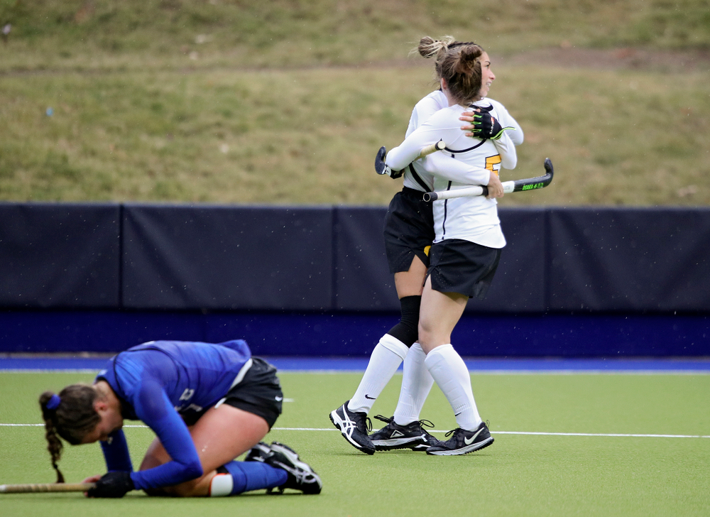 Iowa's Ciara Smith (17) celebrates her goal with Meghan Conroy (5) during the first quarter of their NCAA Tournament First Round match against Duke at Karen Shelton Stadium in Chapel Hill, N.C. on Friday, Nov 15, 2019. (Stephen Mally/hawkeyesports.com)