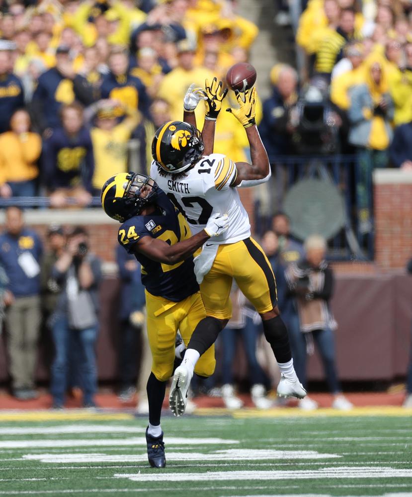 Iowa Hawkeyes wide receiver Brandon Smith (12) against the Michigan Wolverines Saturday, October 5, 2019 at Michigan Stadium in Ann Arbor, MI. (Brian Ray/hawkeyesports.com)