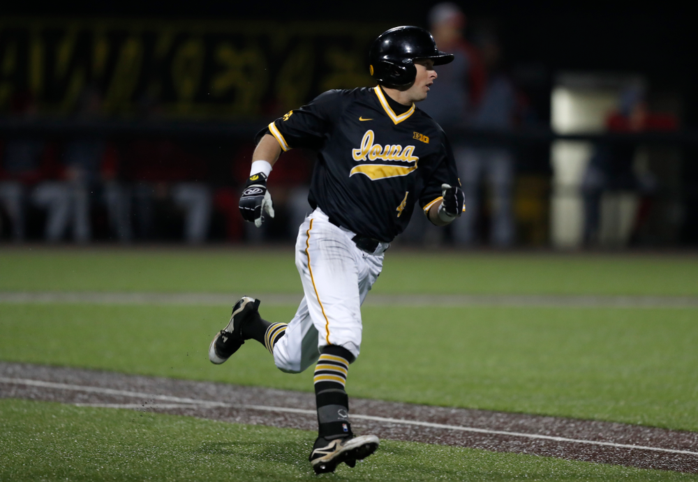 Iowa Hawkeyes infielder Mitchell Boe (4) against the Bradley Braves Wednesday, March 28, 2018 at Duane Banks Field. (Brian Ray/hawkeyesports.com)