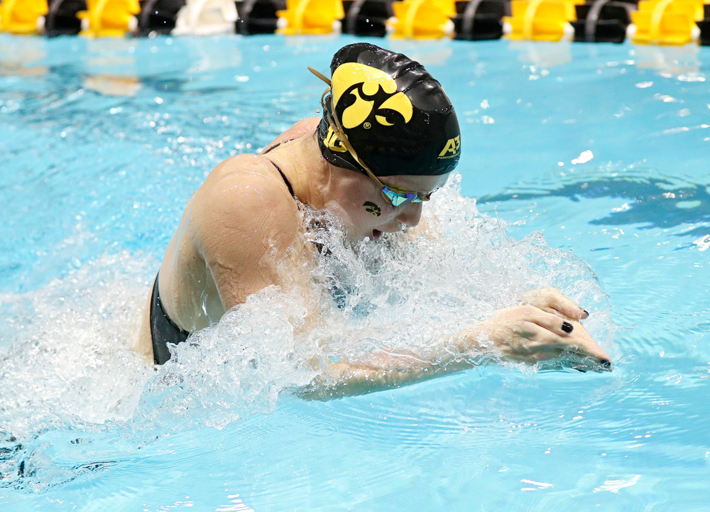 Iowa's Aleksandra Olesiak swims the women's 200 yard breaststroke C final event during the 2020 Women's Big Ten Swimming and Diving Championships at the Campus Recreation and Wellness Center in Iowa City on Saturday, February 22, 2020. (Stephen Mally/hawkeyesports.com)