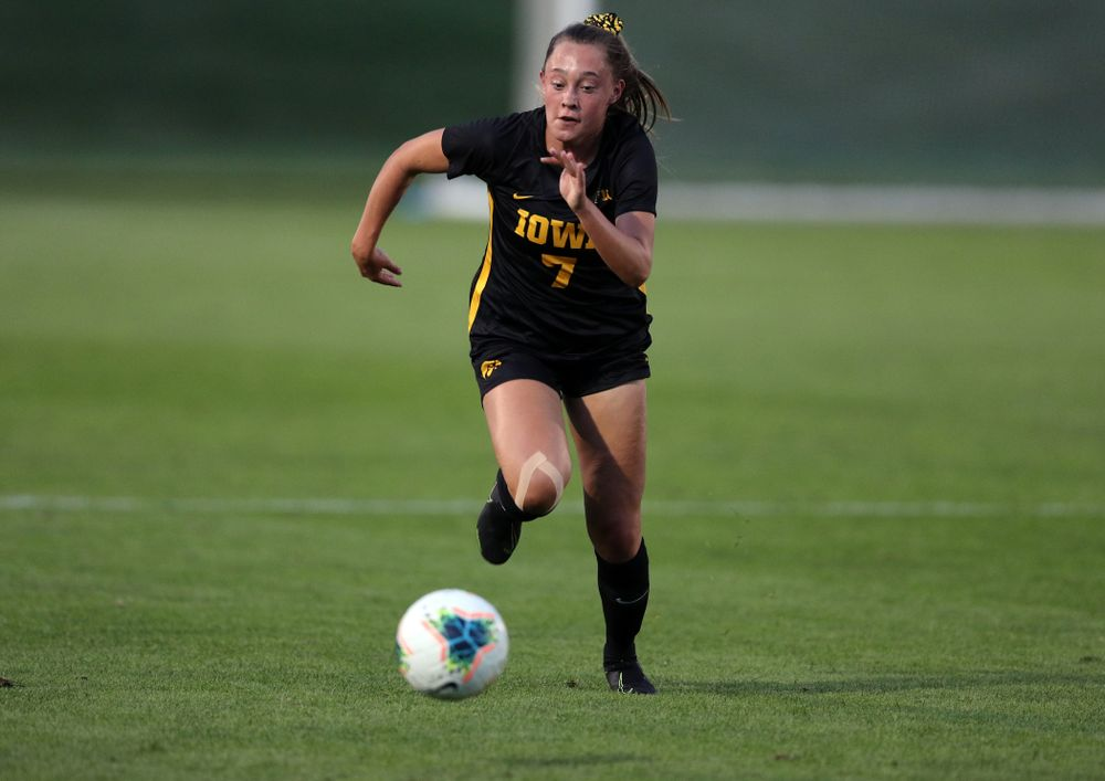 Iowa Hawkeyes forward Skylar Alward (7) during a 2-1 victory over the Iowa State Cyclones Thursday, August 29, 2019 in the Iowa Corn Cy-Hawk series at the Iowa Soccer Complex. (Brian Ray/hawkeyesports.com)