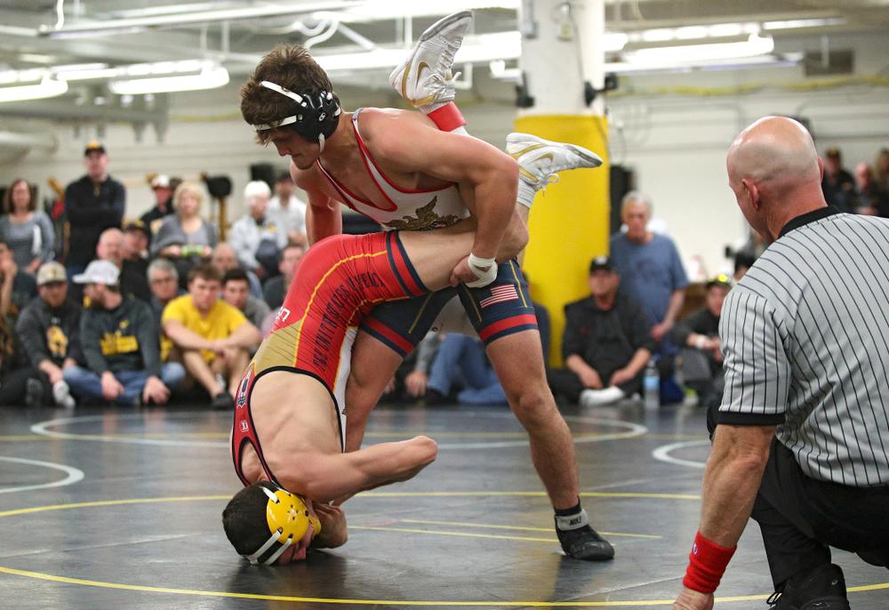 Iowa's Gavin Teasdale (top) and Paul Glynn battle for control during their preseason match at the Dan Gable Wrestling Complex at Carver-Hawkeye Arena in Iowa City on Thursday, Nov 7, 2019. (Stephen Mally/hawkeyesports.com)