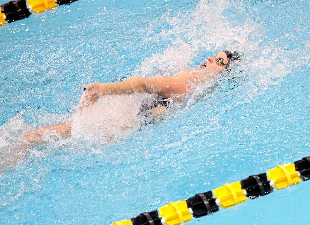 Iowa's Julia Koluch swims the women's 50 yard backstroke event during their meet at the Campus Recreation and Wellness Center in Iowa City on Friday, February 7, 2020. (Stephen Mally/hawkeyesports.com)