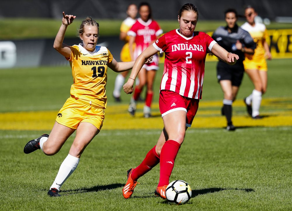 Iowa Hawkeyes forward Jenny Cape (19) defends during a game against Indiana at the Iowa Soccer Complex on September 23, 2018. (Tork Mason/hawkeyesports.com)