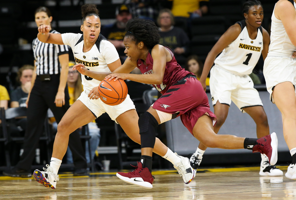 Iowa Hawkeyes guard Alexis Sevillian (5) defends during a game against North Carolina Central at Carver-Hawkeye Arena on November 17, 2018. (Tork Mason/hawkeyesports.com)