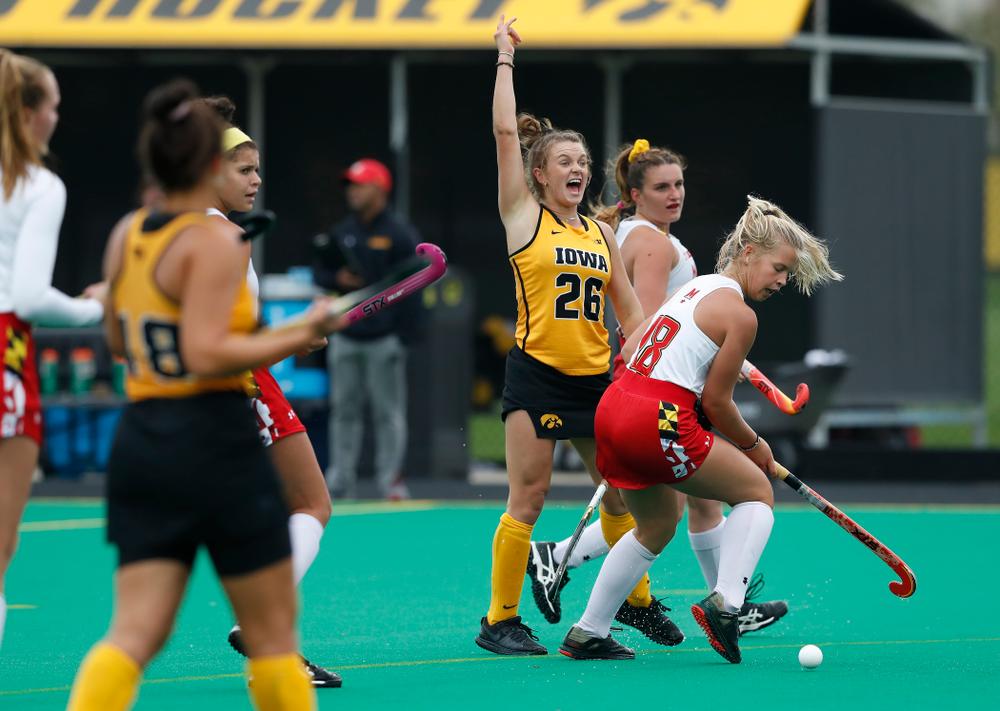 Iowa Hawkeyes Maddy Murphy (26) against Maryland Sunday, October 14, 2018 at Grant Field. (Brian Ray/hawkeyesports.com)