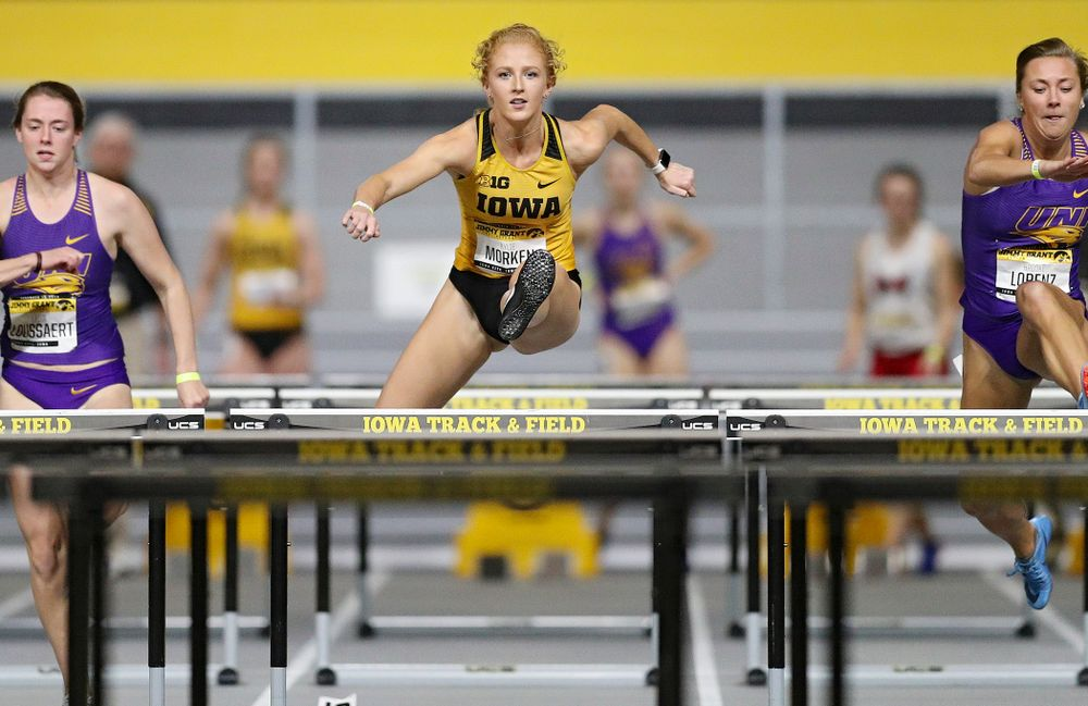 Iowa's Kylie Morken competes in the women's 60 meter hurdles prelims event during the Jimmy Grant Invitational at the Recreation Building in Iowa City on Saturday, December 14, 2019. (Stephen Mally/hawkeyesports.com)