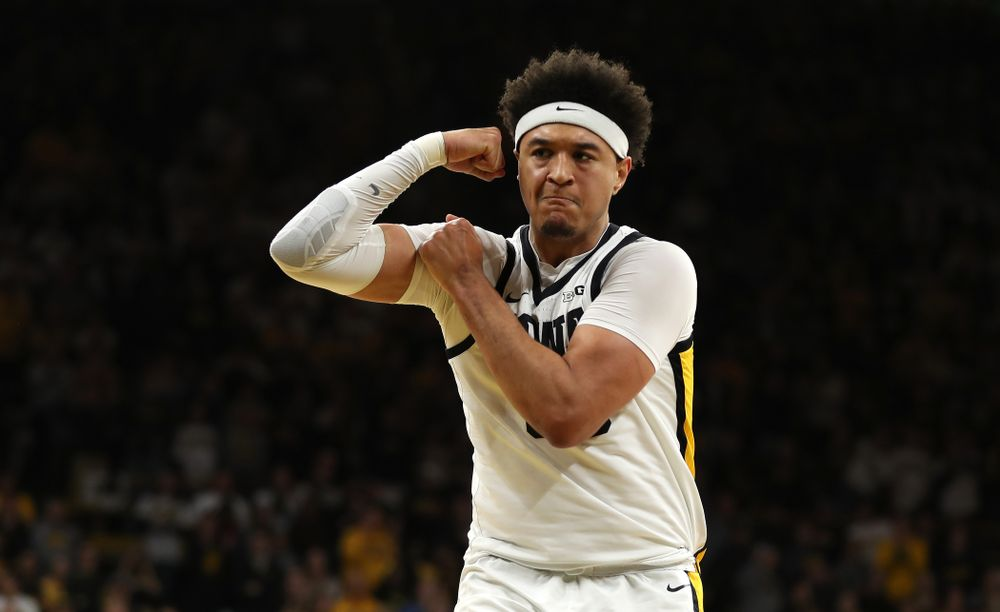 Iowa Hawkeyes forward Cordell Pemsl (35) flexes after a basket against the Ohio State Buckeyes Thursday, February 20, 2020 at Carver-Hawkeye Arena. (Brian Ray/hawkeyesports.com)
