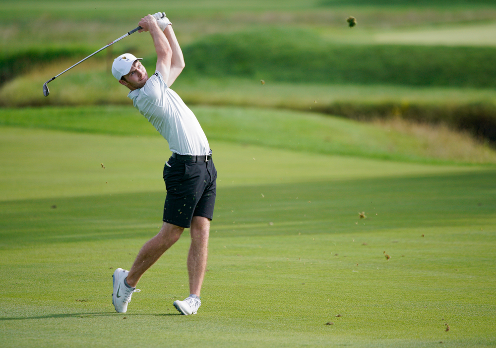 Iowa's Jake Rowe hits from the fairway during the second day of the Golfweek Conference Challenge at the Cedar Rapids Country Club in Cedar Rapids on Monday, Sep 16, 2019. (Stephen Mally/hawkeyesports.com)
