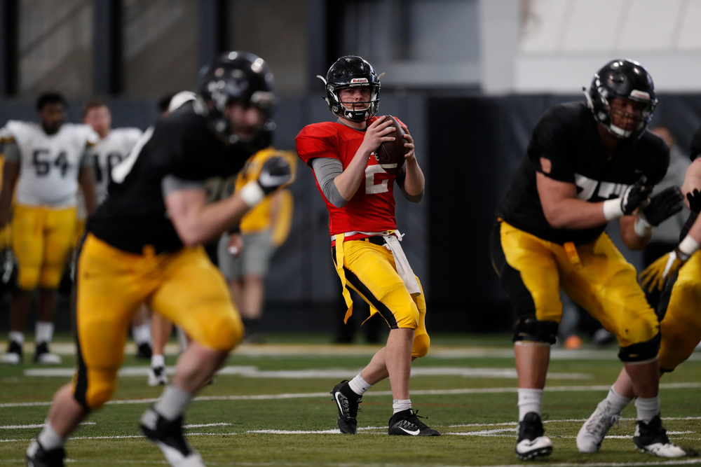 Iowa Hawkeyes quarterback Peyton Mansell (2) during spring practice Wednesday, March 28, 2018 at the Hansen Football Performance Center.  (Brian Ray/hawkeyesports.com)