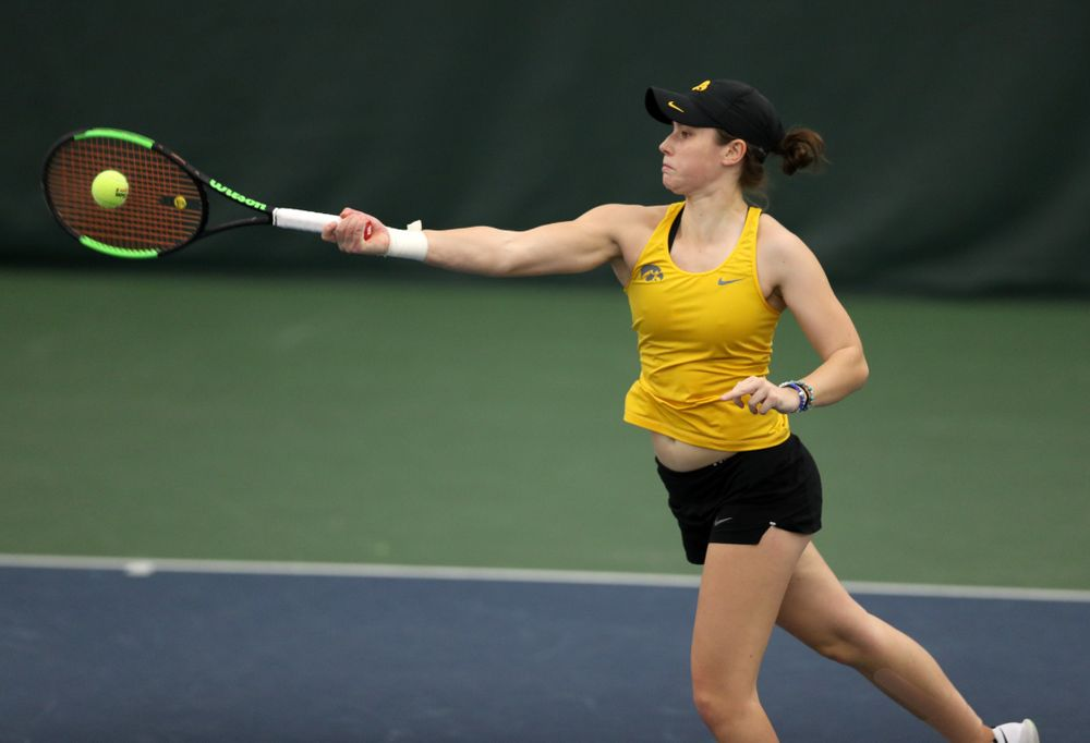 Iowa's Elise Van Heuvelen against the Iowa State Cyclones Friday, February 8, 2019 at the Hawkeye Tennis and Recreation Complex. (Brian Ray/hawkeyesports.com)