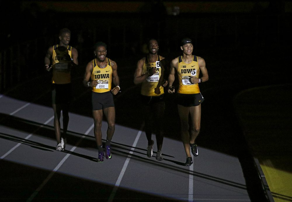 Iowa's Wayne Lawrence Jr. (from left), DeJuan Frye, Antonio Woodard, and Jamal Britt are introduced to run the men's 1600 meter relay premier event during the Larry Wieczorek Invitational at the Recreation Building in Iowa City on Saturday, January 18, 2020. (Stephen Mally/hawkeyesports.com)