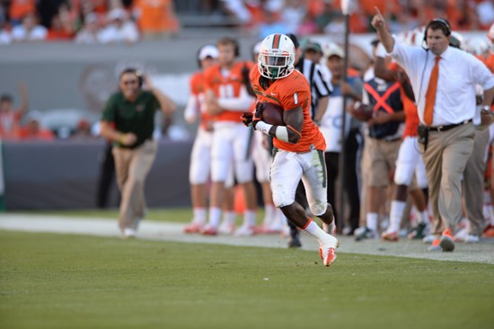 University of Miami Hurricanes defensive back Artie Bums #1 plays in a game against the Georgia Tech Yellow Jackets at Sun Life Stadium on October 5,...