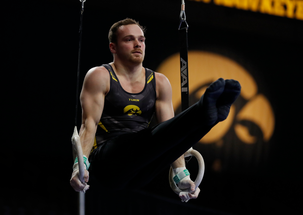 Iowa's Dylan Ellsworth competes on the rings