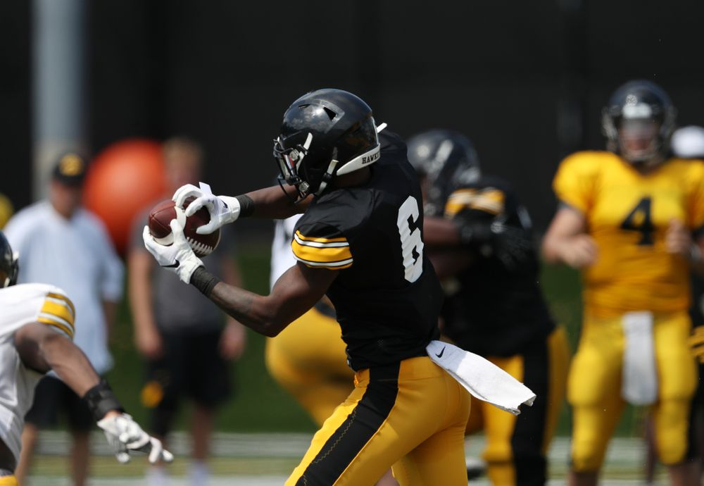 Iowa Hawkeyes wide receiver Ihmir Smith-Marsette (6) during Fall Camp Practice No. 5 Tuesday, August 6, 2019 at the Ronald D. and Margaret L. Kenyon Football Practice Facility. (Brian Ray/hawkeyesports.com)