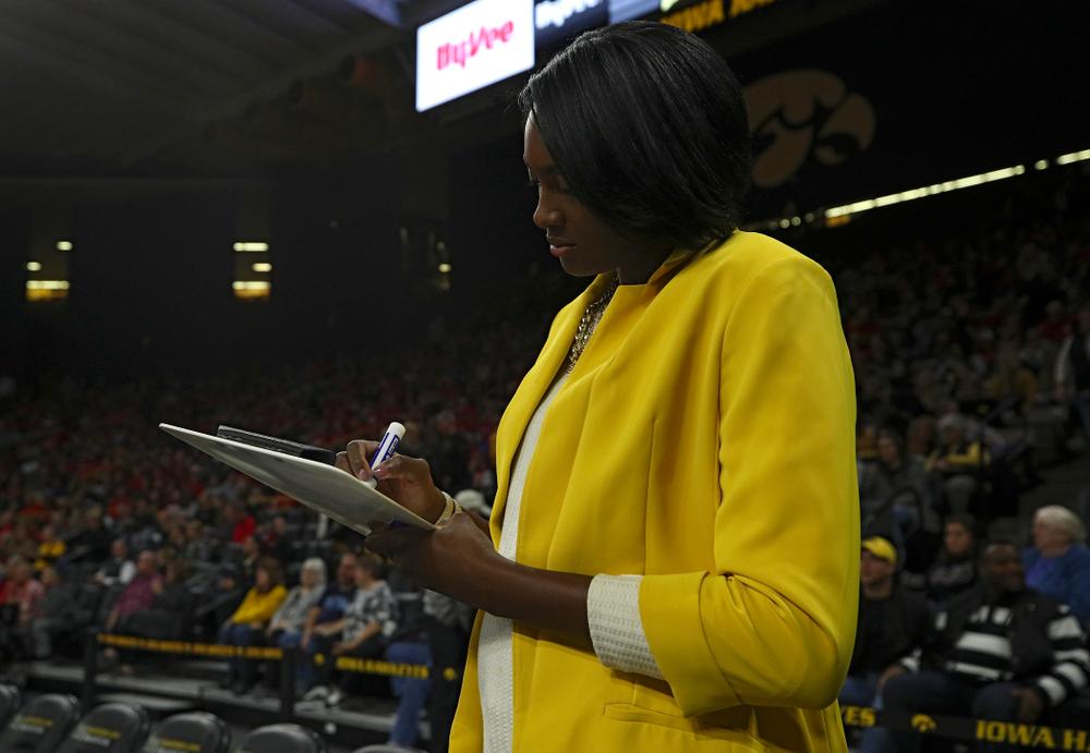 Iowa head coach Vicki Brown before their match against Nebraska at Carver-Hawkeye Arena in Iowa City on Saturday, Nov 9, 2019. (Stephen Mally/hawkeyesports.com)