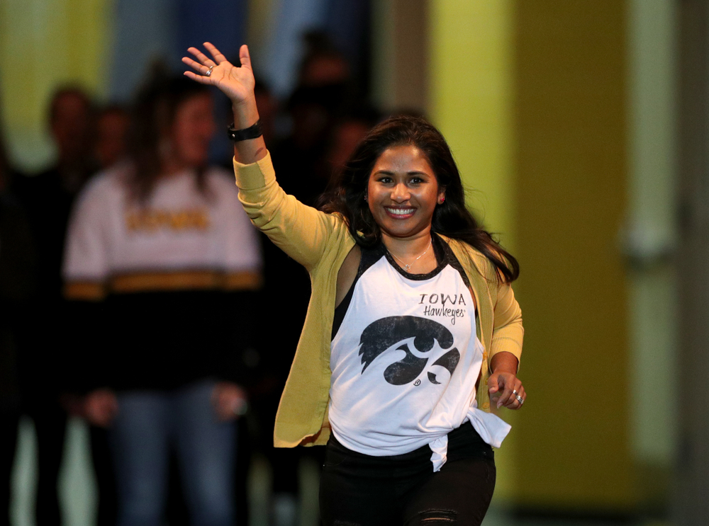 Gymhawk Alumni are announced before the Iowa Hawkeyes meet against Michigan State Saturday, February 1, 2020 at Carver-Hawkeye Arena. (Brian Ray/hawkeyesports.com)