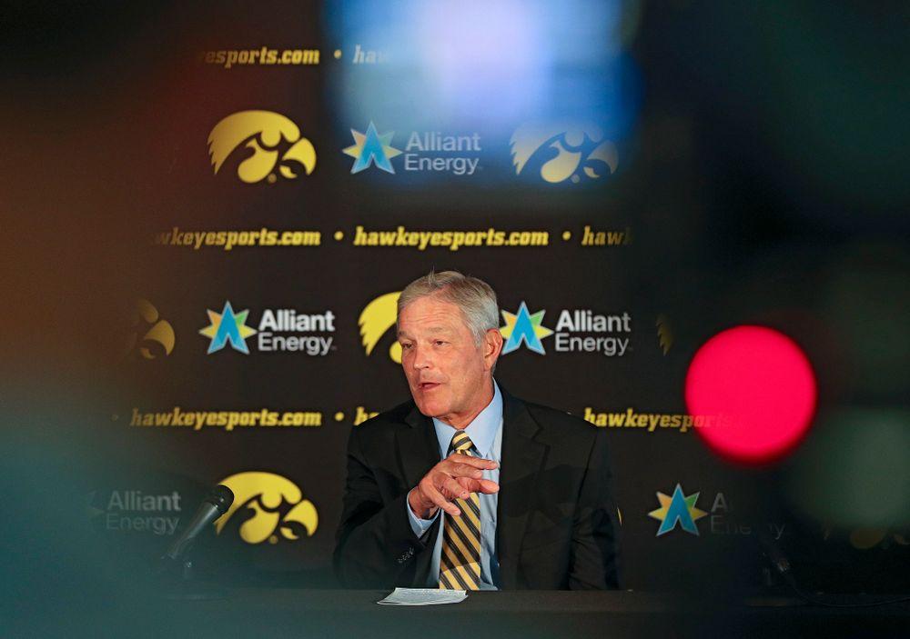 Iowa Hawkeyes head coach Kirk Ferentz answers questions during Iowa Football Media Day at Carver-Hawkeye Arena in Iowa City on Friday, Aug 9, 2019. (Stephen Mally/hawkeyesports.com)
