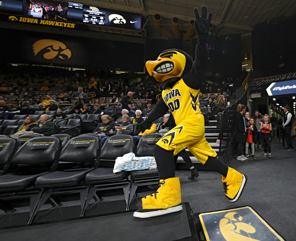 Herky is introduced before the game at Carver-Hawkeye Arena in Iowa City on Thursday, January 23, 2020. (Stephen Mally/hawkeyesports.com)