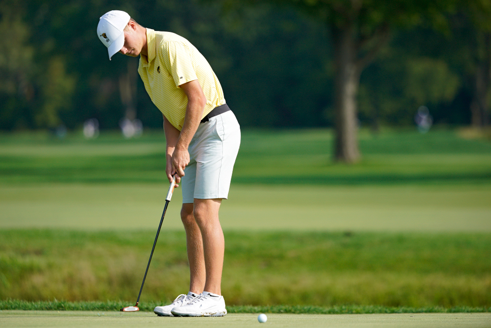 Iowa's Benton Weinberg putts during the third day of the Golfweek Conference Challenge at the Cedar Rapids Country Club in Cedar Rapids on Tuesday, Sep 17, 2019. (Stephen Mally/hawkeyesports.com)