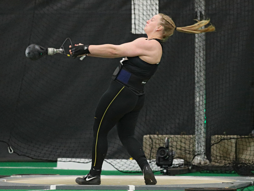 Iowa's Allison Wahrman throws in the women's weight throw event during the Larry Wieczorek Invitational at the Hawkeye Tennis and Recreation Complex in Iowa City on Friday, January 17, 2020. (Stephen Mally/hawkeyesports.com)