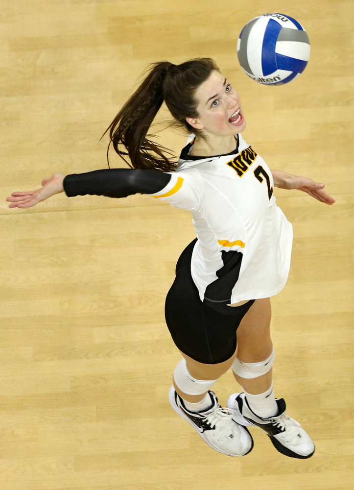 Iowa's Courtney Buzzerio (2) lines up a shot during the third set of their match at Carver-Hawkeye Arena in Iowa City on Saturday, Nov 30, 2019. (Stephen Mally/hawkeyesports.com)