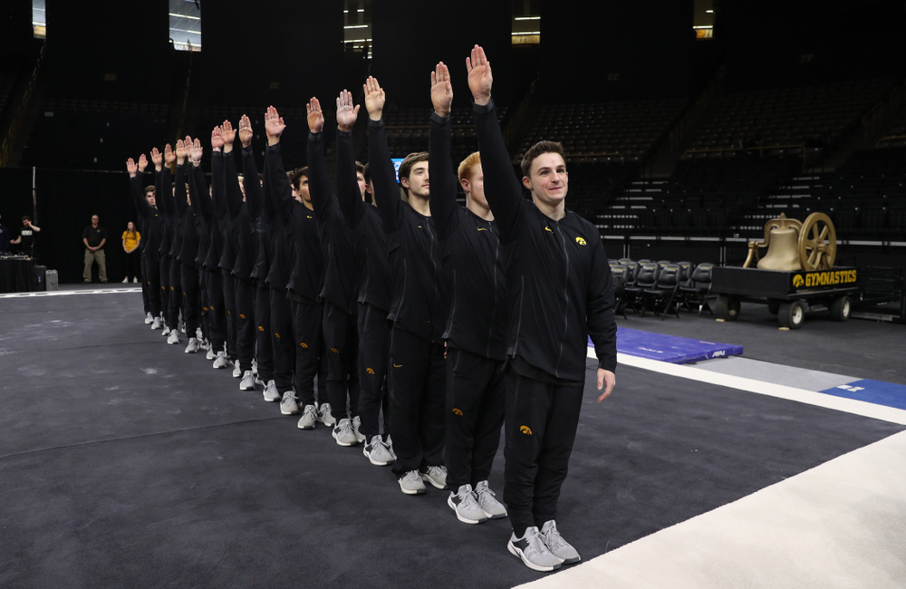 The Iowa Hawkeyes following their meet against the Ohio State Buckeyes Saturday, March 16, 2019 at Carver-Hawkeye Arena.  (Brian Ray/hawkeyesports.com)