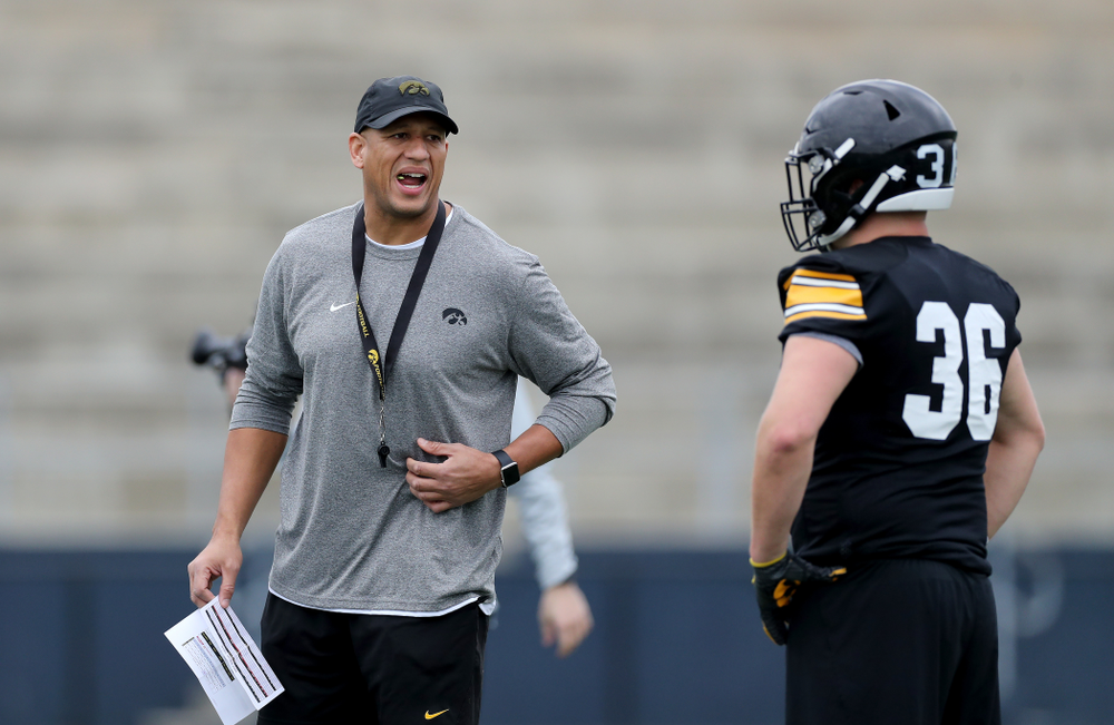 Iowa Hawkeyes special teams coordinator LeVar Woods  during practice Sunday, December 22, 2019 at Mesa College in San Diego. (Brian Ray/hawkeyesports.com)