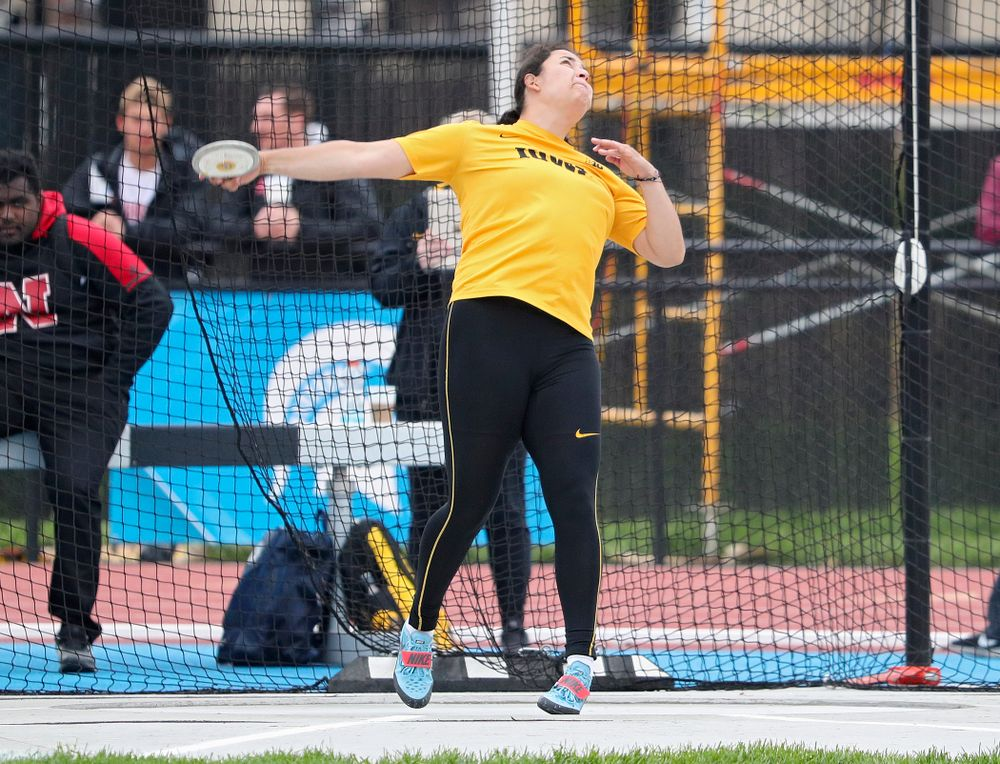 Iowa's Konstadina Spanoudakis throws in the women's discus event on the third day of the Big Ten Outdoor Track and Field Championships at Francis X. Cretzmeyer Track in Iowa City on Sunday, May. 12, 2019. (Stephen Mally/hawkeyesports.com)