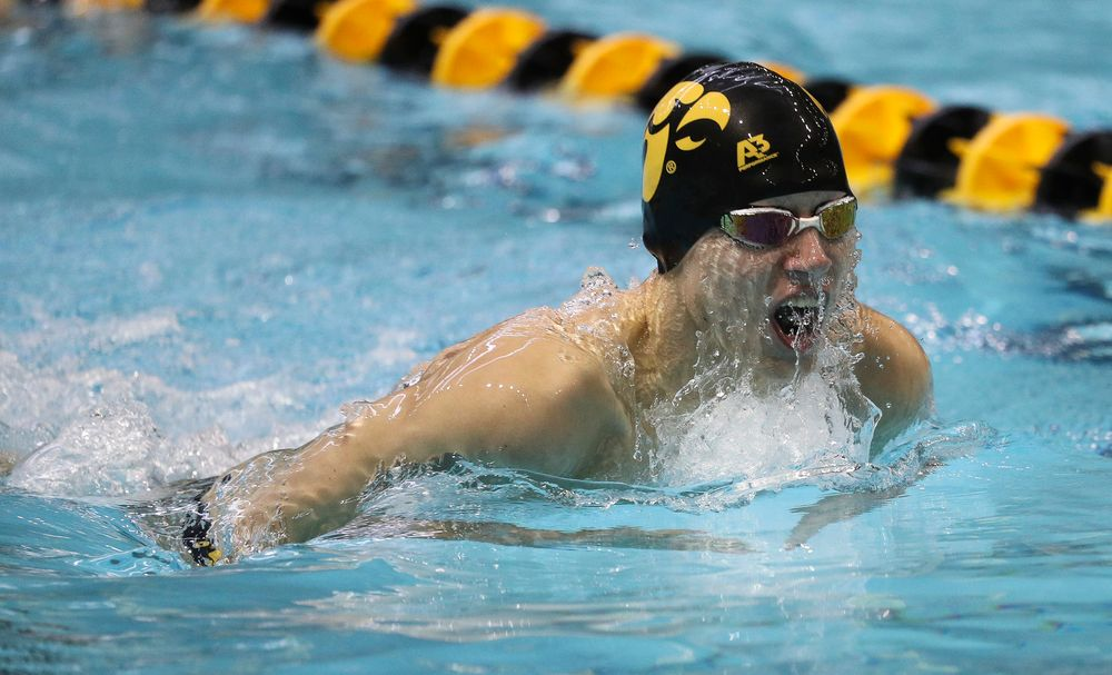 Iowa's Andrew Fierke competes in the 200-yard breaststroke during a meet against Michigan and Denver at the Campus Recreation and Wellness Center on November 3, 2018. (Tork Mason/hawkeyesports.com)