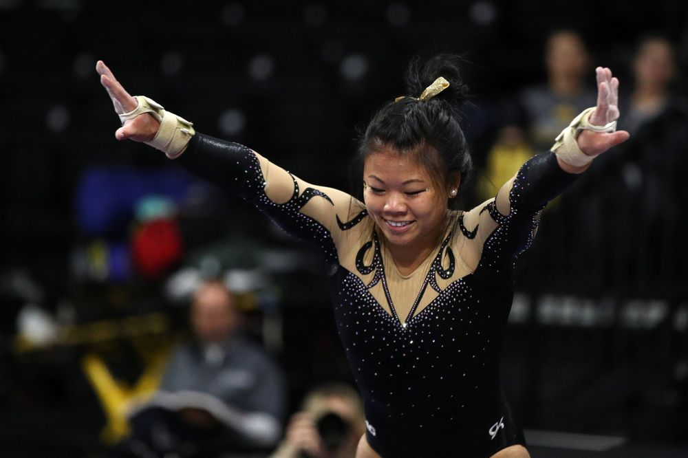 Iowa's Misty-Jade Carlson competes on the vault during their meet against Southeast Missouri State Friday, January 11, 2019 at Carver-Hawkeye Arena. (Brian Ray/hawkeyesports.com)