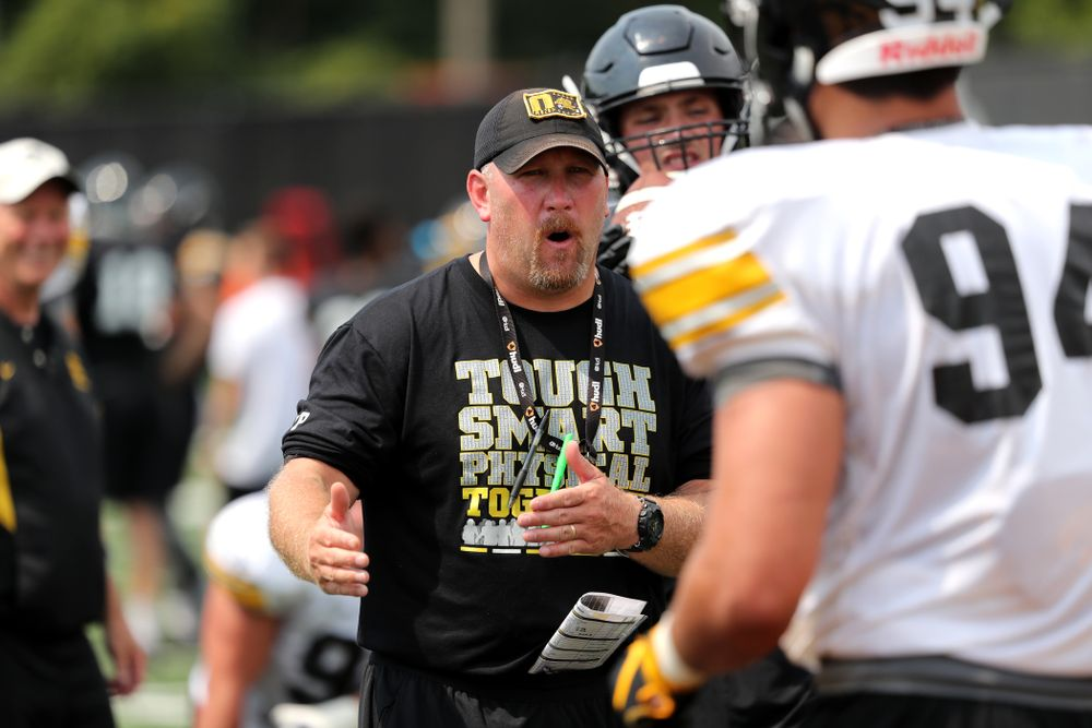 Iowa Hawkeyes offensive line coach Tim Polasek during the third practice of fall camp Sunday, August 5, 2018 at the Kenyon Football Practice Facility. (Brian Ray/hawkeyesports.com)