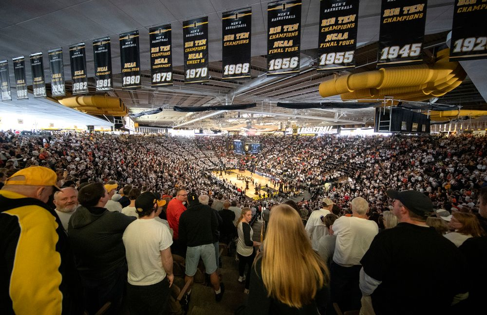 Fans cheer before the game at Carver-Hawkeye Arena in Iowa City on Sunday, February 2, 2020. (Stephen Mally/hawkeyesports.com)