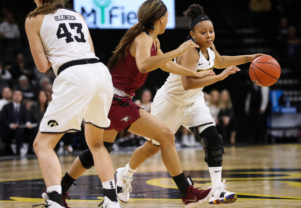 Iowa Hawkeyes guard Tania Davis (11) dribbles the ball during a game against North Carolina Central at Carver-Hawkeye Arena on November 17, 2018. (Tork Mason/hawkeyesports.com)