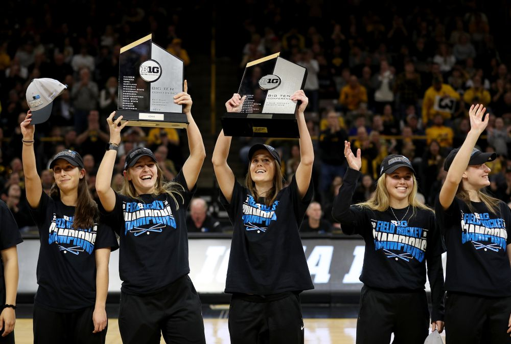 Isabella Solaroli, Katie Birch, Sophie Sunderland, Leslie Speight and the rest of the Iowa Field Hockey team are recognized during the Iowa Hawkeyes game against the Ohio State Buckeyes Thursday, February 20, 2020 at Carver-Hawkeye Arena. (Brian Ray/hawkeyesports.com)