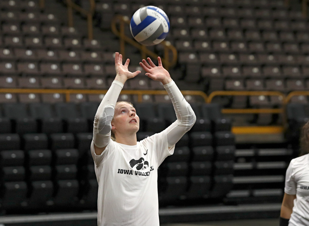 Iowa's Jaedynn Evans (22) during Iowa Volleyball's Media Day at Carver-Hawkeye Arena in Iowa City on Friday, Aug 23, 2019. (Stephen Mally/hawkeyesports.com)