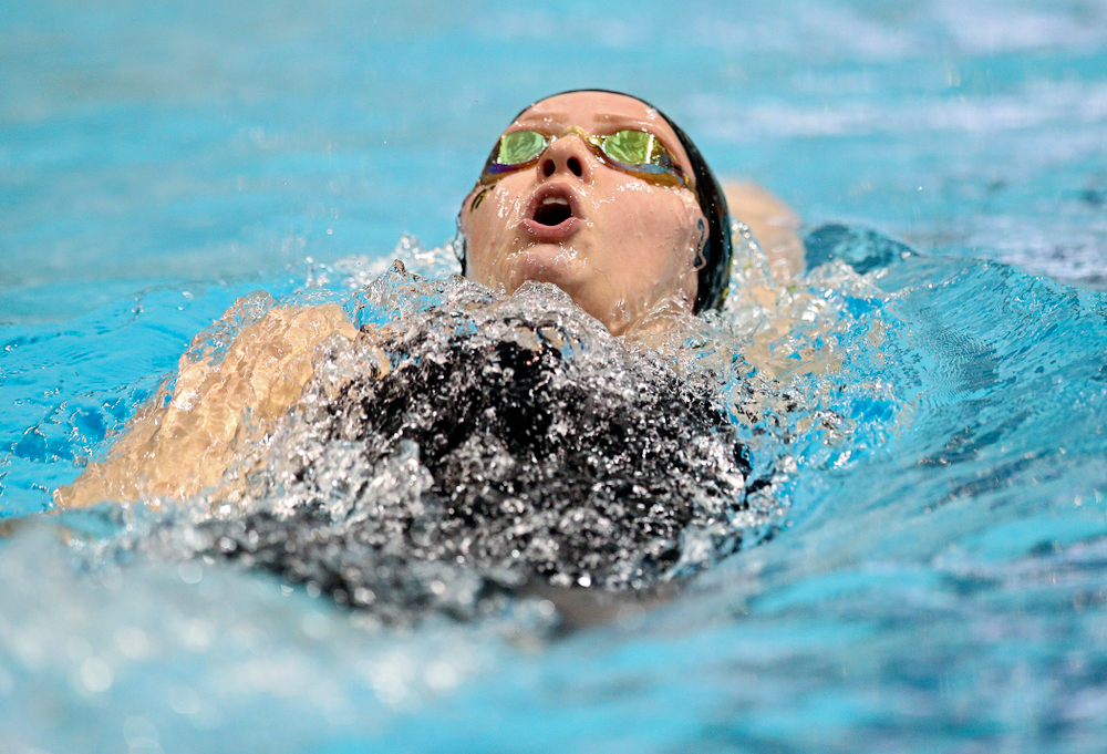 Iowa's Julia Koluch swims the women's 200 yard backstroke C final event during the 2020 Women's Big Ten Swimming and Diving Championships at the Campus Recreation and Wellness Center in Iowa City on Saturday, February 22, 2020. (Stephen Mally/hawkeyesports.com)