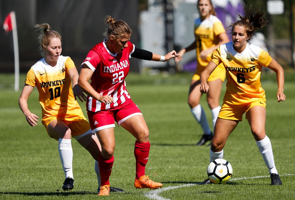 Iowa Hawkeyes midfielder Natalie Winters (10) and Iowa Hawkeyes midfielder Isabella Blackman (6) defend during a game against Indiana at the Iowa Soccer Complex on September 23, 2018. (Tork Mason/hawkeyesports.com)