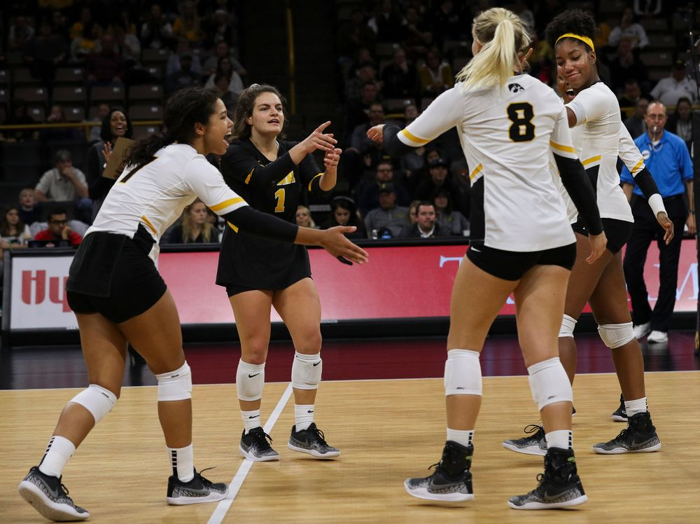 Iowa Hawkeyes defensive specialist Molly Kelly (1) celebrates after winning a point during a match against Rutgers at Carver-Hawkeye Arena on November 2, 2018. (Tork Mason/hawkeyesports.com)