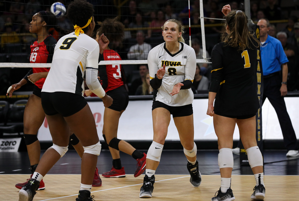 Iowa Hawkeyes right side hitter Reghan Coyle (8) celebrates after winning a point during a match against Rutgers at Carver-Hawkeye Arena on November 2, 2018. (Tork Mason/hawkeyesports.com)