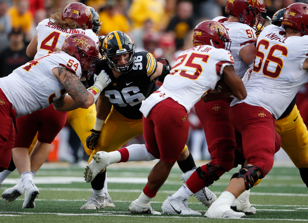 Iowa Hawkeyes defensive end Matt Nelson (96) against the Iowa State Cyclones Saturday, September 8, 2018 at Kinnick Stadium. (Brian Ray/hawkeyesports.com)