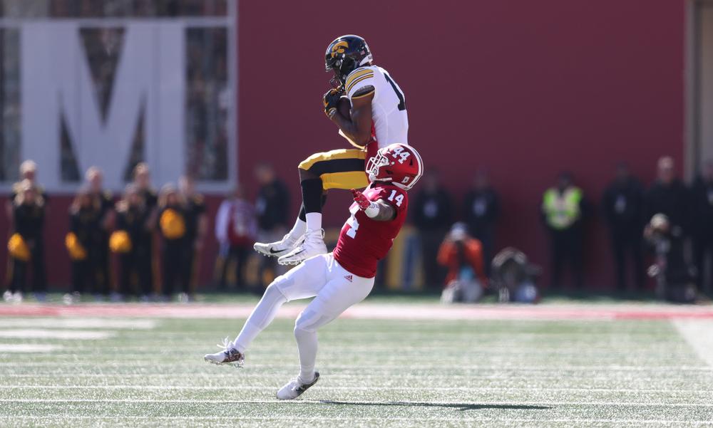 Iowa Hawkeyes wide receiver Brandon Smith (12) against the Indiana Hoosiers Saturday, October 13, 2018 at Memorial Stadium, in Bloomington, Ind. (Max Allen/hawkeyesports.com)