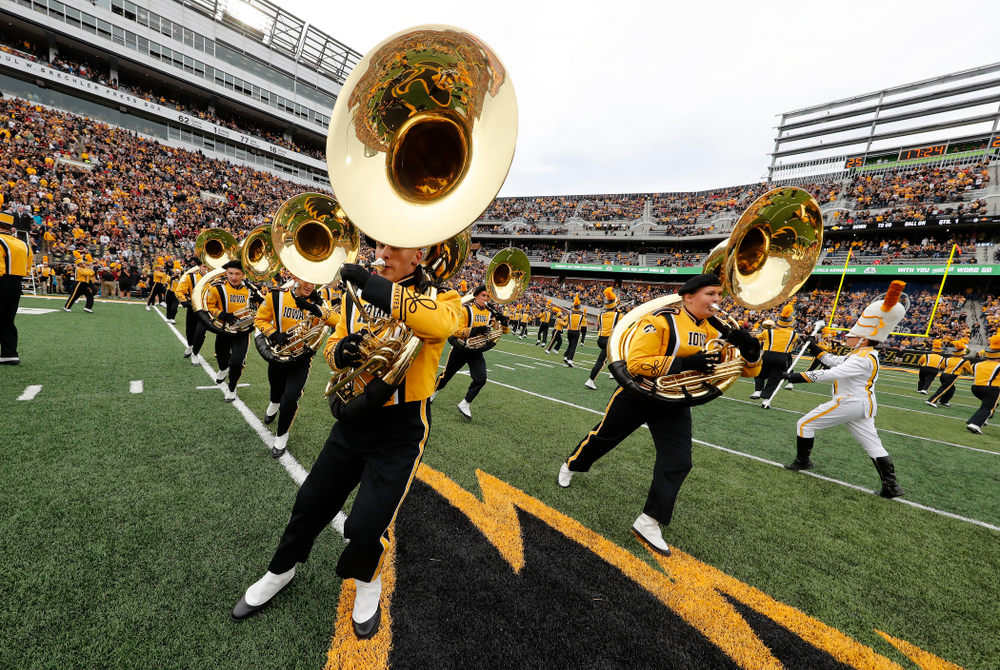 The Hawkeye Marching Band performs before the Iowa Hawkeyes game against against the Iowa State Cyclones Saturday, September 8, 2018 at Kinnick Stadium. (Brian Ray/hawkeyesports.com)