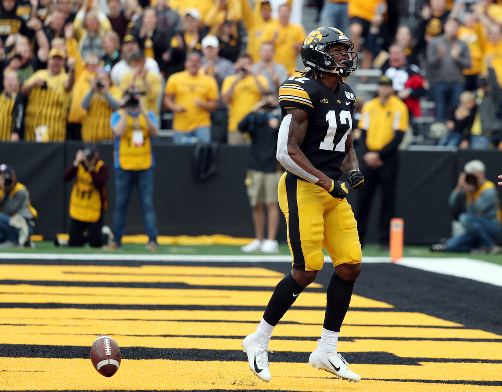 Iowa Hawkeyes wide receiver Brandon Smith (12) celebrates after scoring a touchdown against Middle Tennessee State Saturday, September 28, 2019 at Kinnick Stadium. (Brian Ray/hawkeyesports.com)