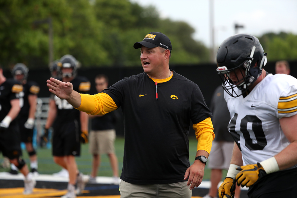 Iowa Hawkeyes offensive coordinator Brian Ferentz during practice No. 4 of Fall Camp Monday, August 6, 2018 at the Hansen Football Performance Center. (Brian Ray/hawkeyesports.com)