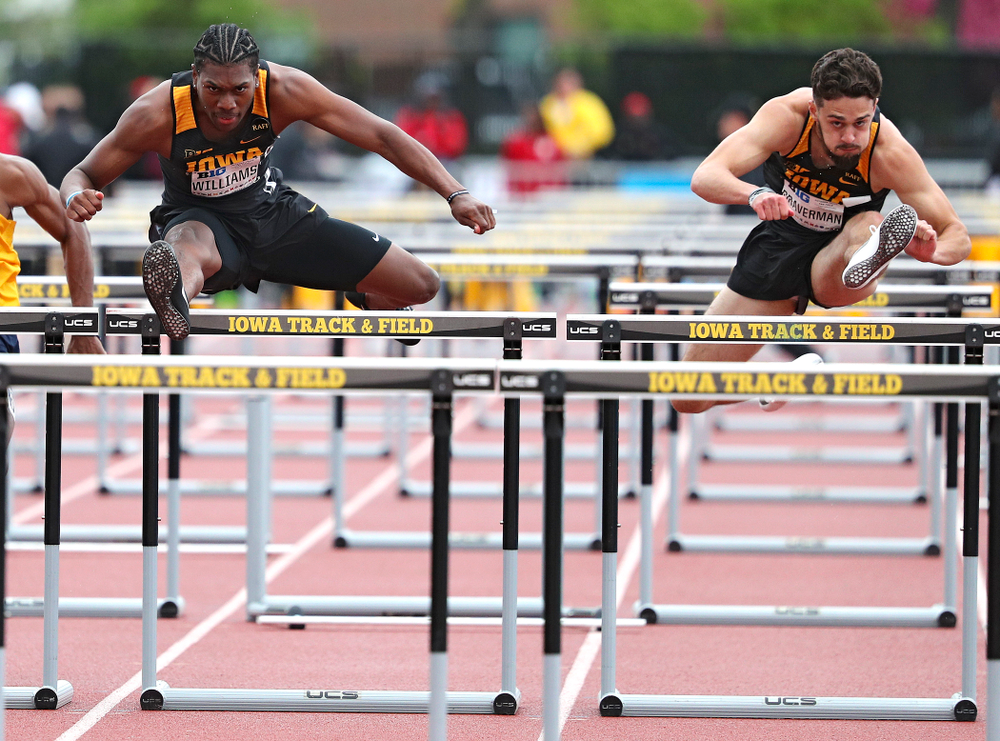 Iowa's Anthony Williams (from left) and Josh Braverman run the men's 110 meter hurdles event on the second day of the Big Ten Outdoor Track and Field Championships at Francis X. Cretzmeyer Track in Iowa City on Saturday, May. 11, 2019. (Stephen Mally/hawkeyesports.com)