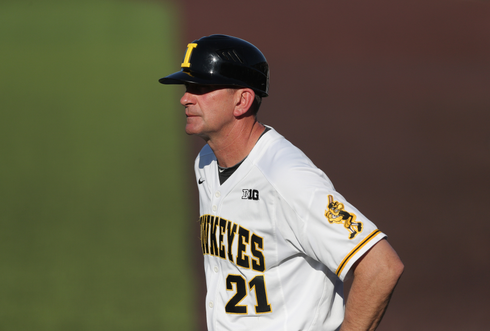 Iowa Hawkeyes head coach Rick Heller against the Nebraska Cornhuskers Saturday, April 20, 2019 at Duane Banks Field. (Brian Ray/hawkeyesports.com)