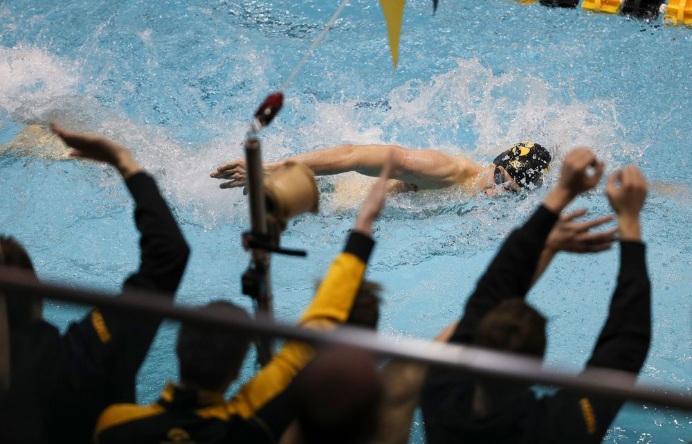 Iowa's Jackson Allmon competes in the 200-yard freestyle during the third day of the Hawkeye Invitational at the Campus Recreation and Wellness Center on November 16, 2018. (Tork Mason/hawkeyesports.com)