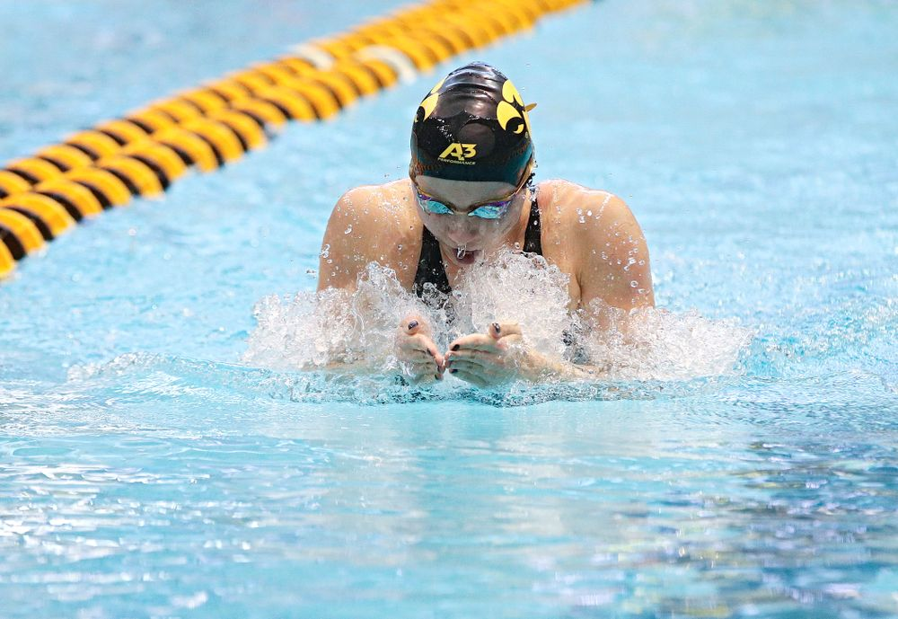 Iowa's Aleksandra Olesiak swims the women's 200 yard individual medley preliminary event during the 2020 Women's Big Ten Swimming and Diving Championships at the Campus Recreation and Wellness Center in Iowa City on Thursday, February 20, 2020. (Stephen Mally/hawkeyesports.com)