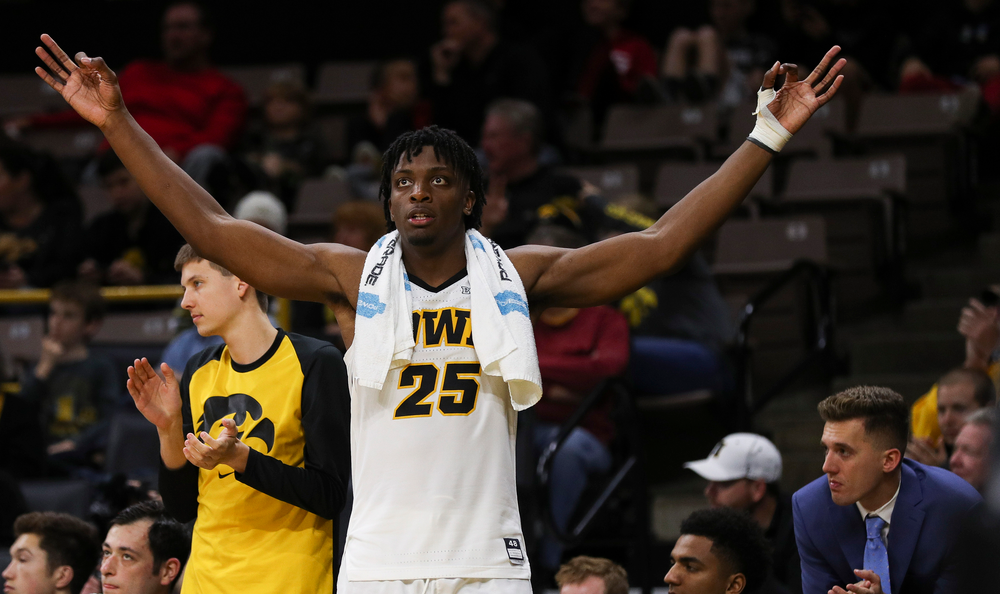 Iowa Hawkeyes forward Tyler Cook (25) reacts after a made 3-pointer during a game against Guilford College at Carver-Hawkeye Arena on November 4, 2018. (Tork Mason/hawkeyesports.com)